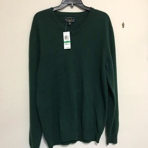 Club Room Men's Cashmere Green V-Neck Sweater NWT